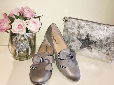 Grey Striped Bow Loafers